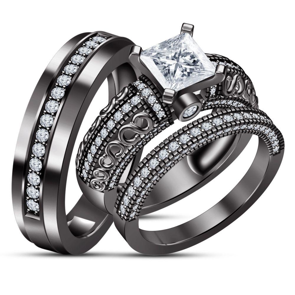 10k Black Gold Finish 925 Silver Diamond Engagement Ring Wedding Band Trio Set Black Gold Ring Black Wedding Rings Black Wedding Ring Sets