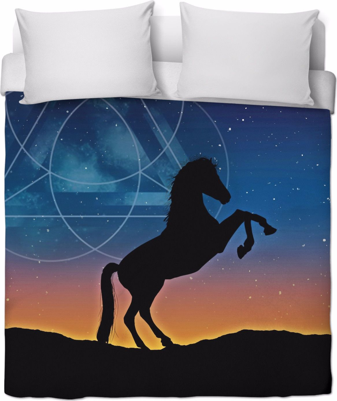 Rearing Horse Silhouette Against Stars And Symbol Symbols