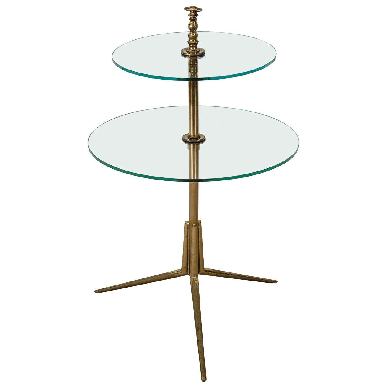 Vintage Modern Brass and Glass Side Table after Gio Ponti Italy