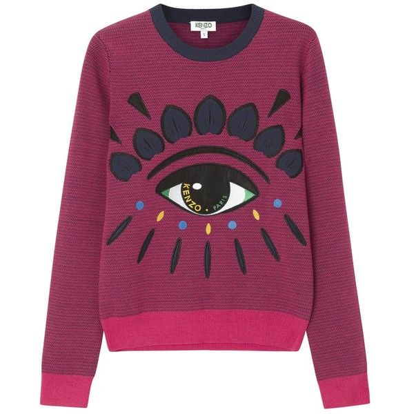 KENZO Pink Embroidered Cotton Blend Sweatshirt (1.501.060 IDR) ❤ liked on Polyvore featuring tops, hoodies, sweatshirts, sweaters, embroidered sweatshirts, purple top, kenzo top, purple sweatshirt and kenzo