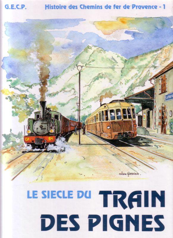 Affiche vintage le train des pignes chemin de fer de for Train paris salon de provence