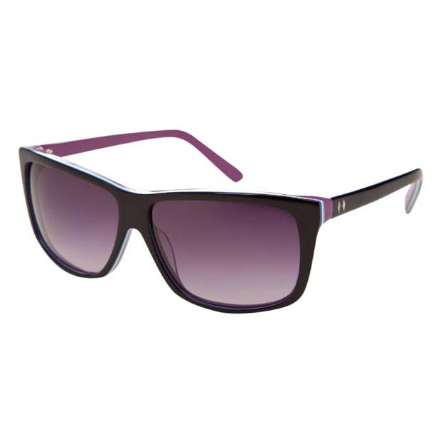 Heartbreaker sunglasses in black/boysenberry  - All plastic frames are made in limited quantities of handmade acetate.  - Lenses are CR-39 shatterproof, and provide 100% UVA and UVB protection  - Hinges are factory milled and all styles feature silicon coated screws.  - Frames are Rx-able and fit most prescriptions.  - All frames come with a 1 year warranty against manufacture defects.  - All frames come packaged with sunglass case and cleaning cloth
