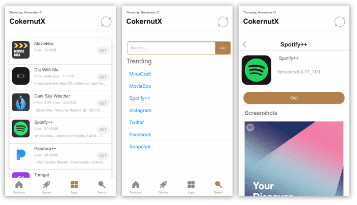 Install CokernutX and download iOS apps from App Store