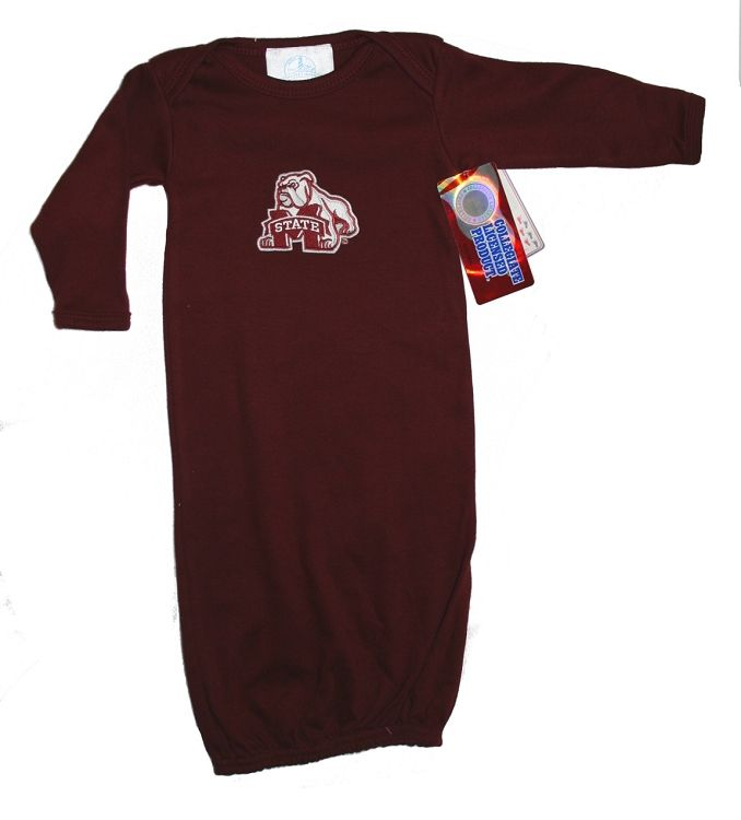 Mississippi State Baby Gown With Bulldog Logo Hail State