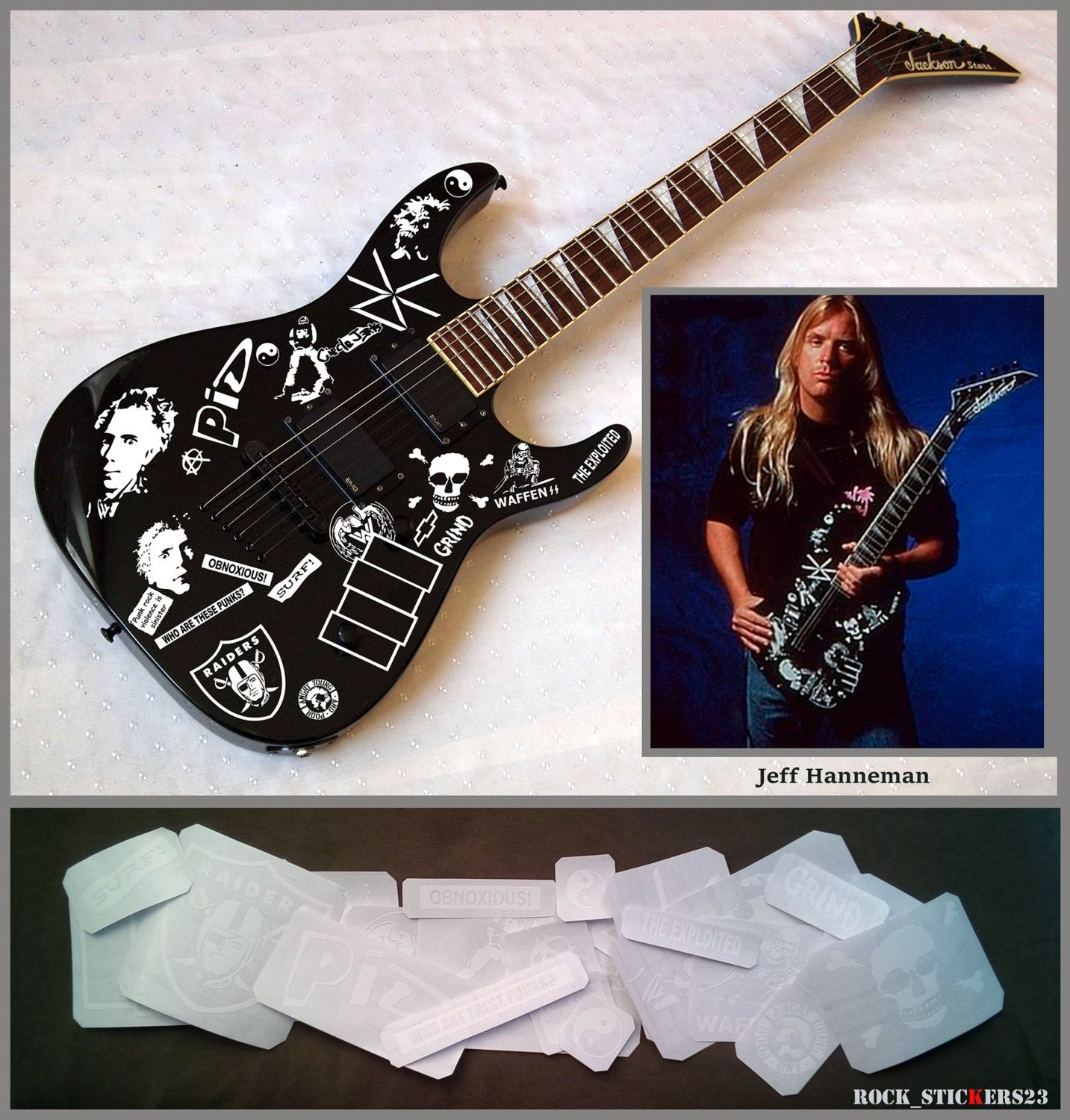 Jeff Hanneman Guitar Stickers Signature Vinyl Decal Slayer Jackson - Guitar custom vinyl stickers