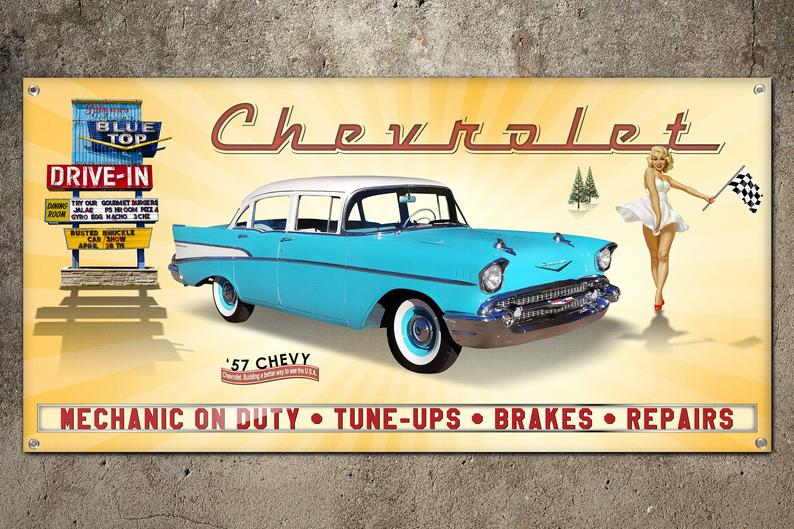Custom 57 Chevy Garage Banner 2ft X 4ft Etsy In 2020 Chevy Repair Car