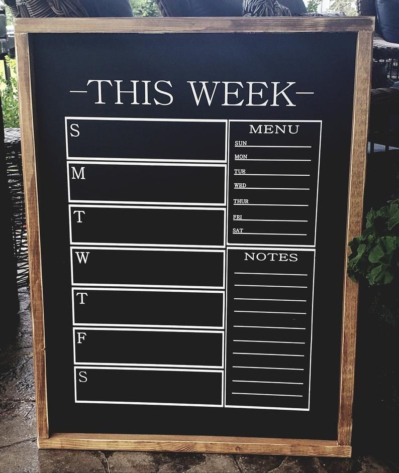 Chalkboard Calendar And Menu Sign Kitchen Etsy Chalkboard Calendar Kitchen Chalkboard Chalkboard