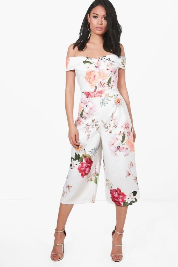 0cd9ebee315c boohoo Mona Bardot Floral Culotte Jumpsuit