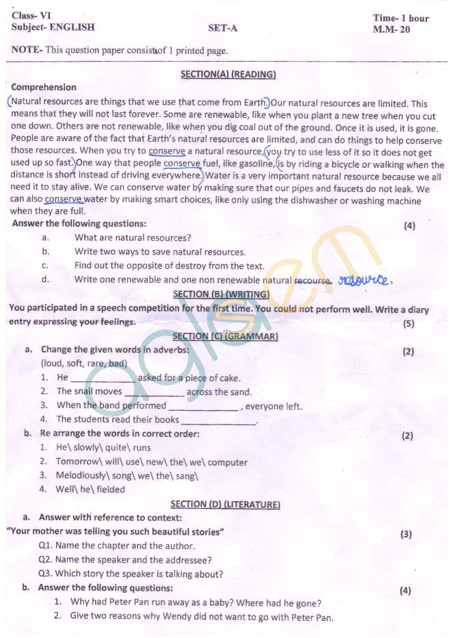 Cbse Class  Sa Question Paper For English  Amer