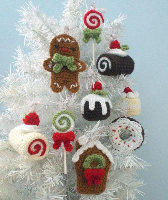 Amigurumi Crochet Christmas Sweets Ornament Pattern Set Digital