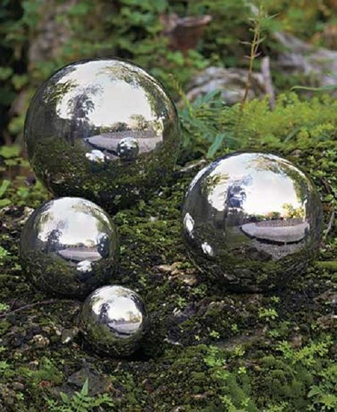 Gentil Round Sphere Set 4 Gazing Ball Outdoor Garden Yard Lawn Stainless Steel NEW