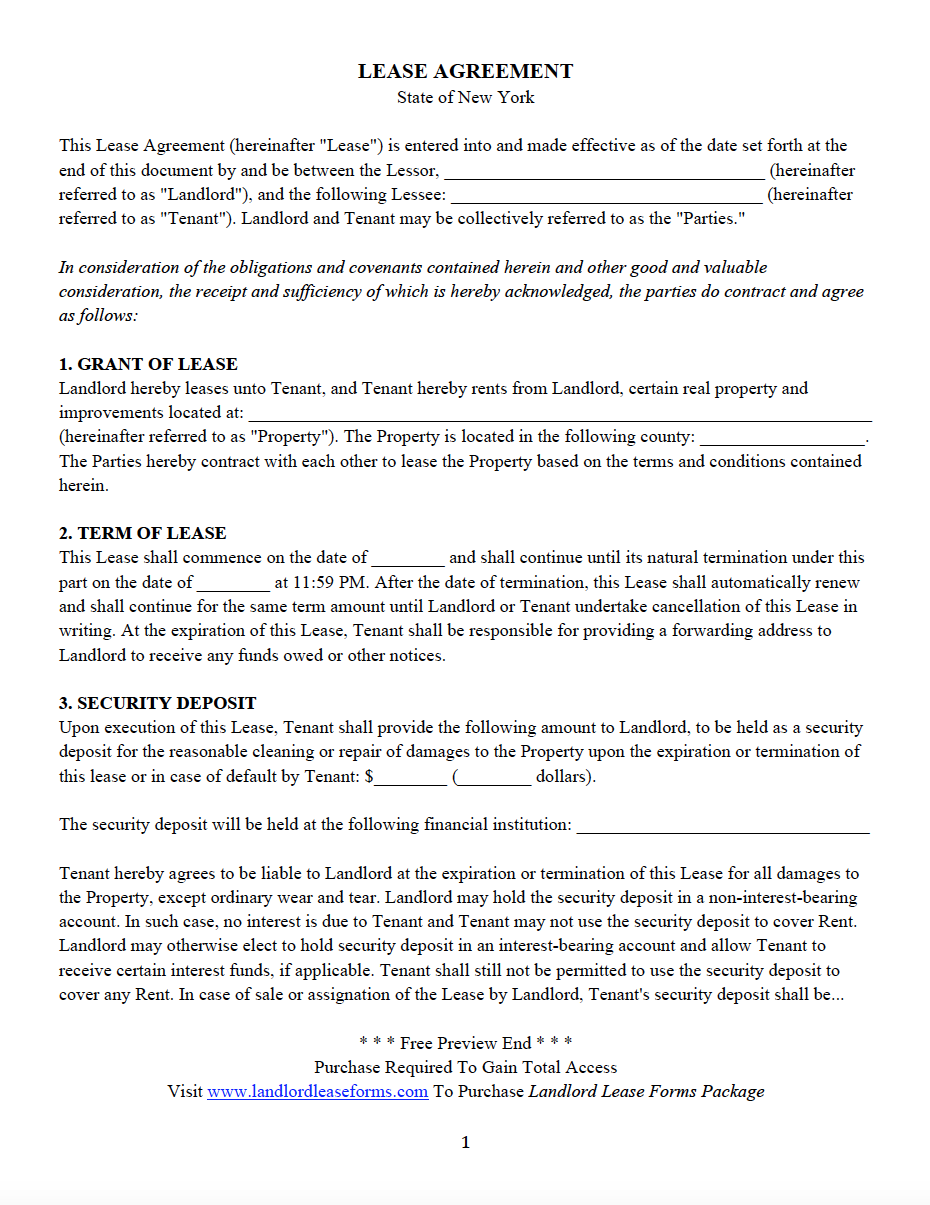 New York Residential Lease Agreement All 50 States