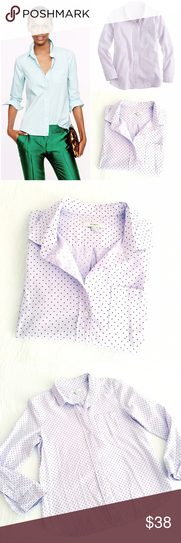 j.crew shrunken shirt in lilac dot oxford This feminine shirt ha shaped seams at the bust & a shrunken fit - which is just a touch slimmer than our boy shirt & has slightly shorter sleeves & length. Crafted in a washed oxford - our designers have this classic fabric an unexpected twist with contrast dots. Cotton, long sleeves, chest pocket, functional cuffs, machine wash. No flaws to note, in gently worn condition J. Crew Tops Button Down Shirts