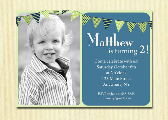 First Birthday Baby Boy Invitation 1st 2nd 3rd by DesignBugStudio - invitation card for ist birthday