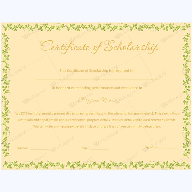 certificate of scholarship 08 certificate student scholarships
