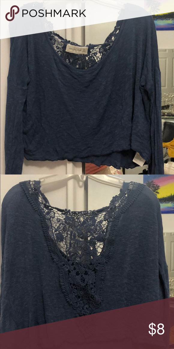 afb9b2152fa72 Abercrombie   Fitch lace back long sleeve Blue Abercrombie   Fitch Tops  Crop Tops