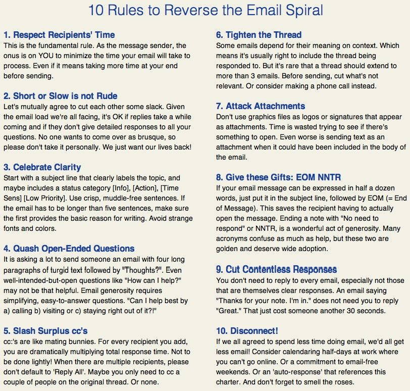Great top 10 tips for email, something everyone should have printed - best of email letter format attachment