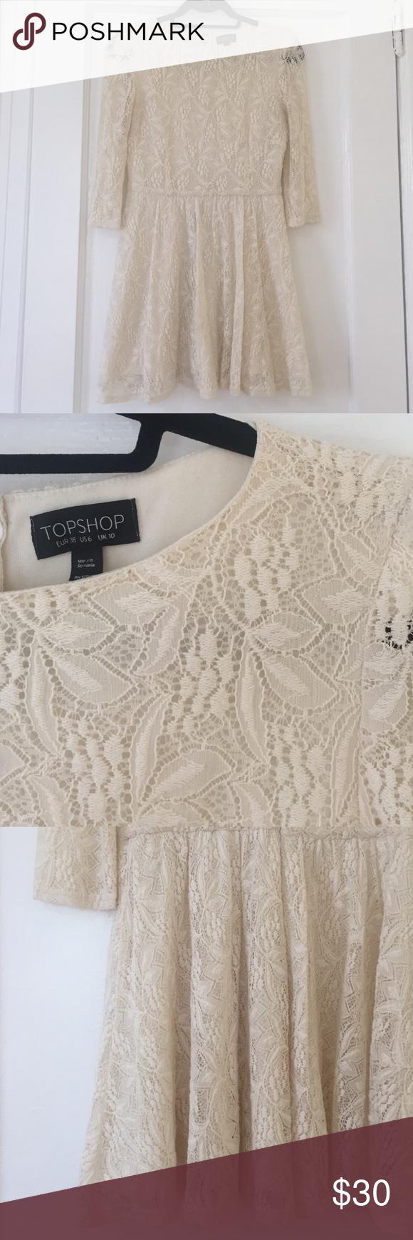 White lace dress zara  Topshop Cream Lace Mini Dress Zara cream bohemian lace dress with