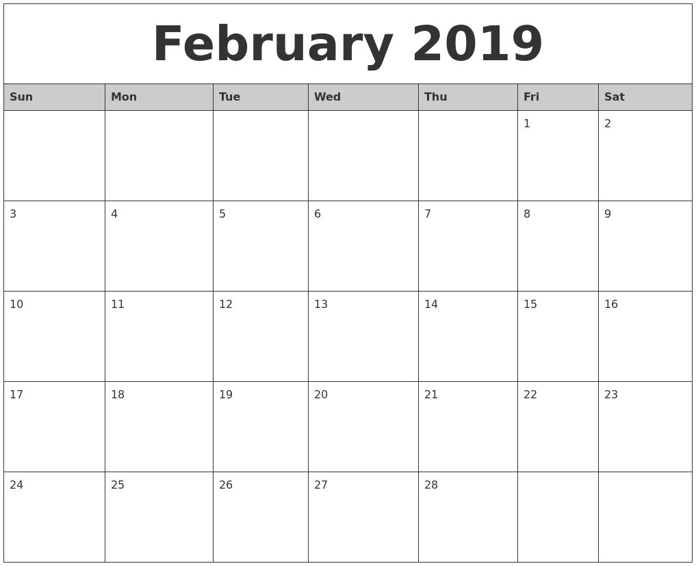 February 2019 Monthly Calendar Printable February 2019 Monthly
