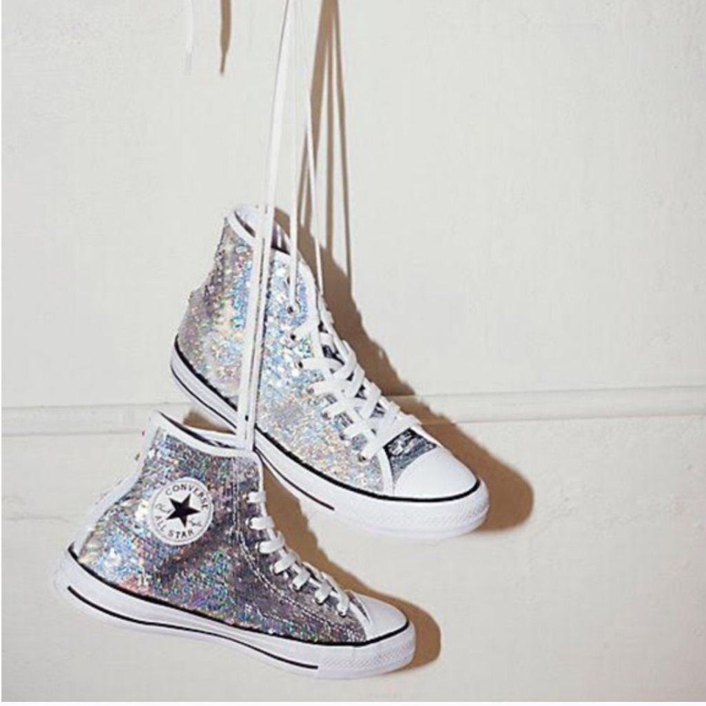 High Top Silver Sequin Converse - NEW