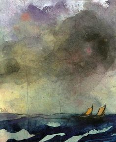 Nolde, Emil (German, 1867-1956) - Sea with two Sailboats - s.d. (by *Huismus)