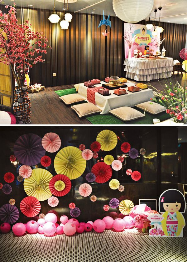 Japanese theme parties on pinterest japanese party for Asian party decoration