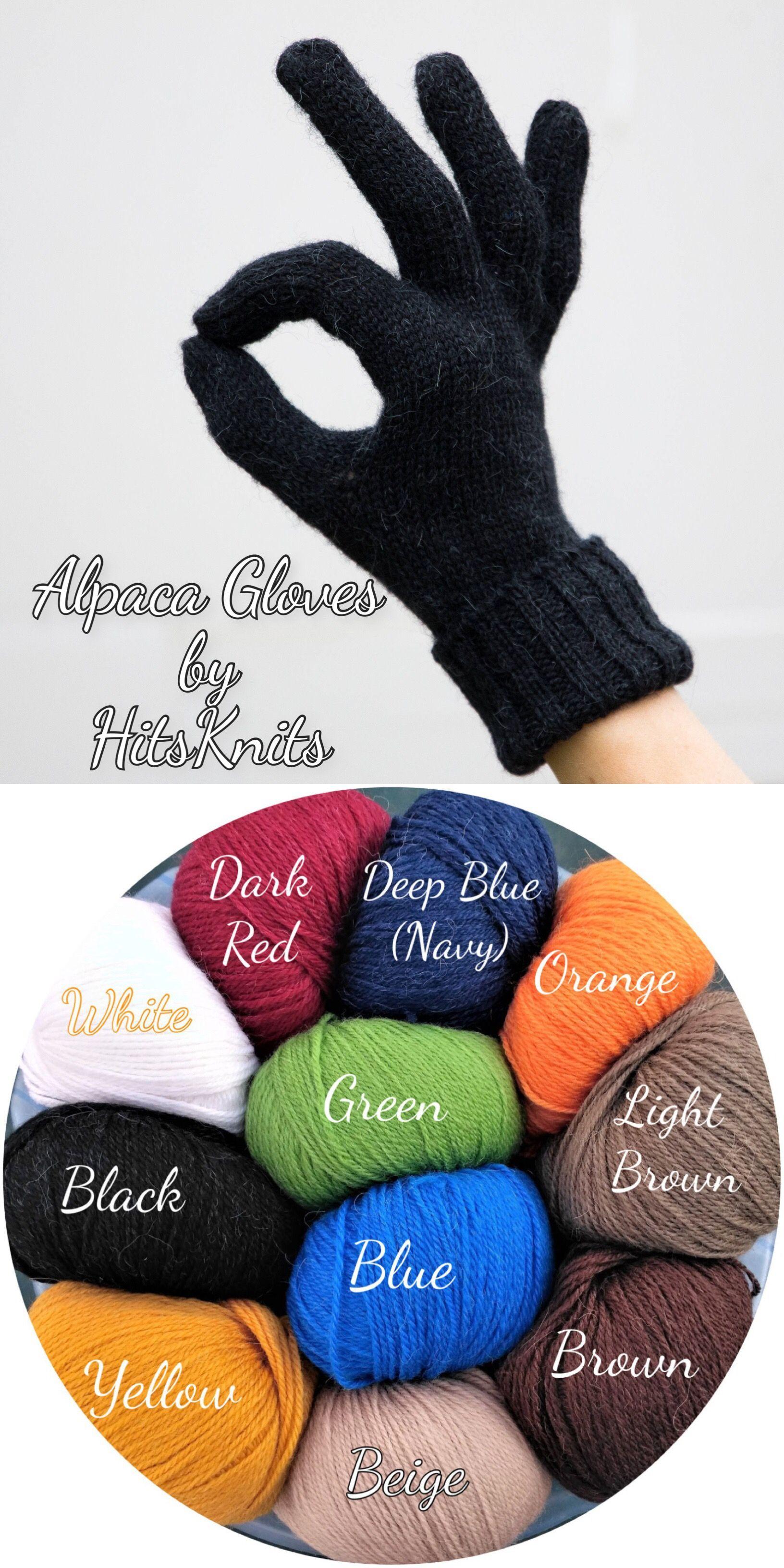 baba46914 Full finger gloves finger alpaca gloves winter black gloves knitted gloves  with fingers alpaca wool gloves pair of gloves mens gloves womens