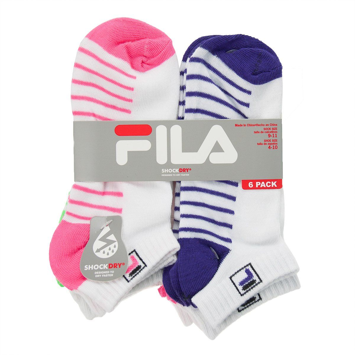 12 Pr WomensGirls FILA Shock Dry Ankle Socks Sport Low Cut