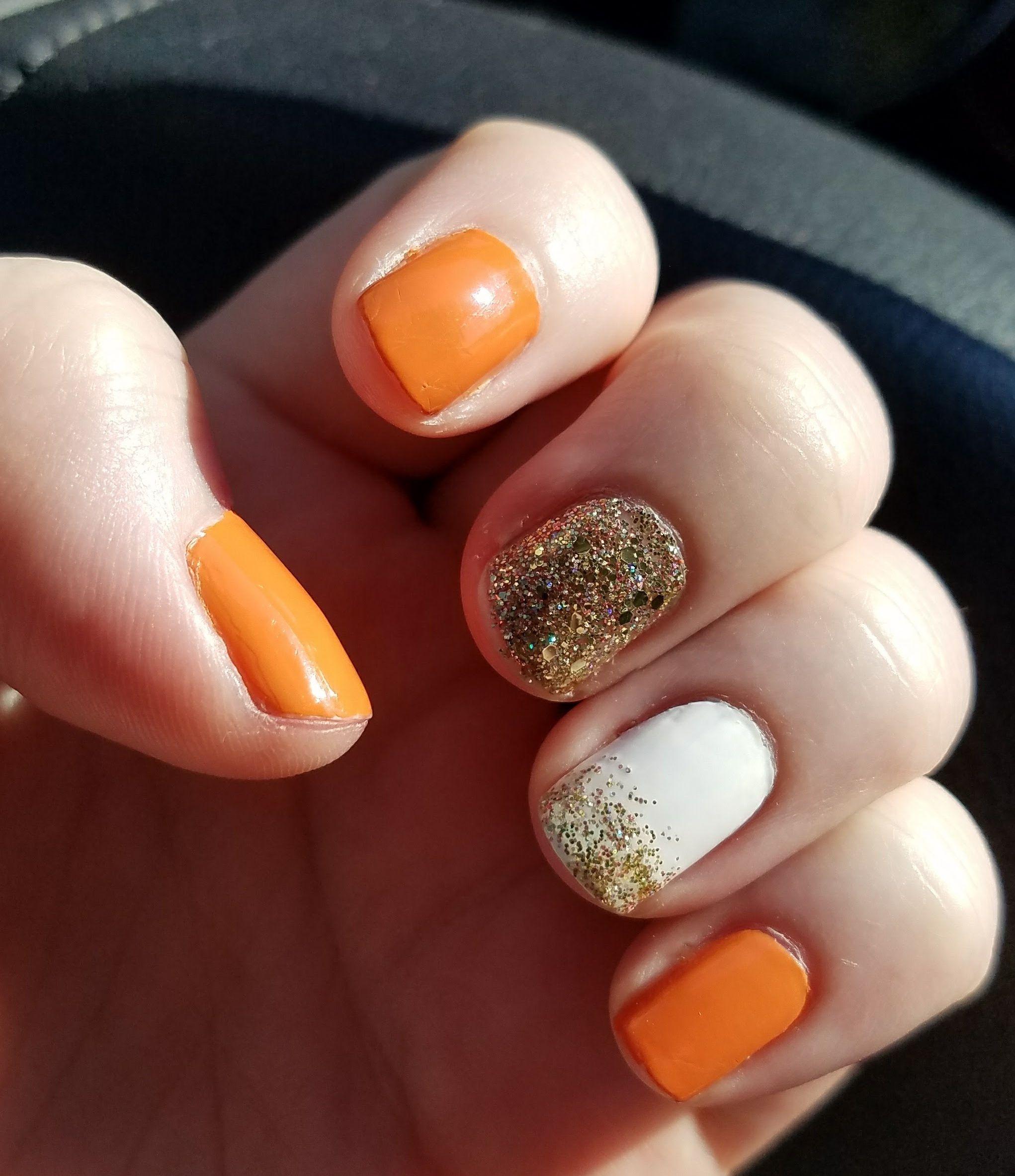 Orange and glitter fall nails! #nails #nailart #glitter # ...