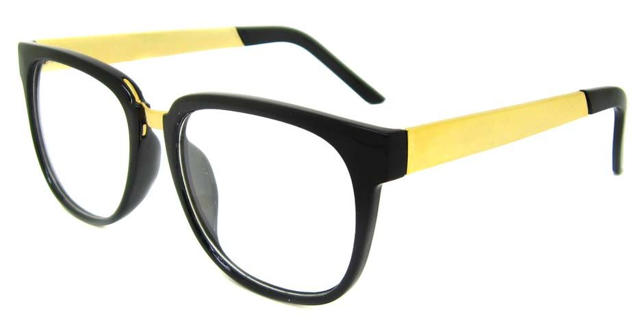 Black with gold blend Oval retro glasses frame  #fashion #retro #smart