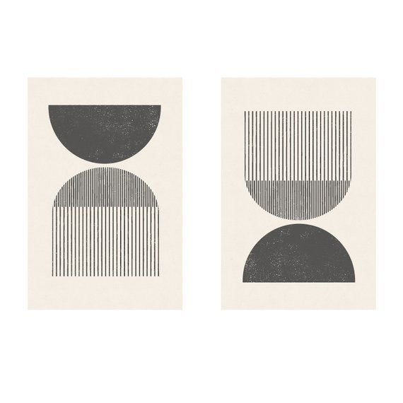 Midcentury style woodcut in classic geometric shapes and neutral colors Download right away and print from home  PRINTABLE WALL ART Modern geometric minimalist woodcut pr...