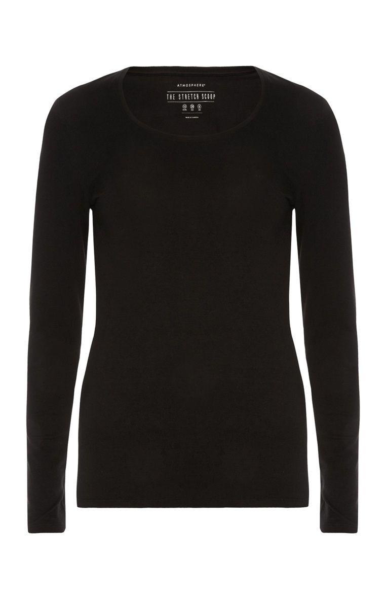 6070997319e2 Primark - Black Stretch Scoop Neck T-Shirt | PRIMARK | Sixth form ...