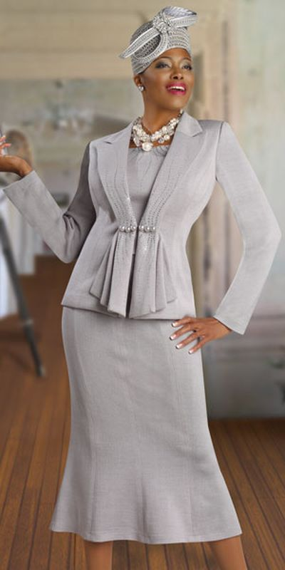 90b9913ce79 Check out the deal on Donna Vinci Knits 2917 Womens Silver Church Suit at French  Novelty