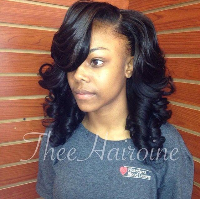 Pin Curls Beautiful Weave Mayvenn Deep Side Part Sew In