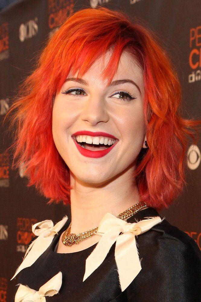 hayley williams short bright orange hair beauty nature