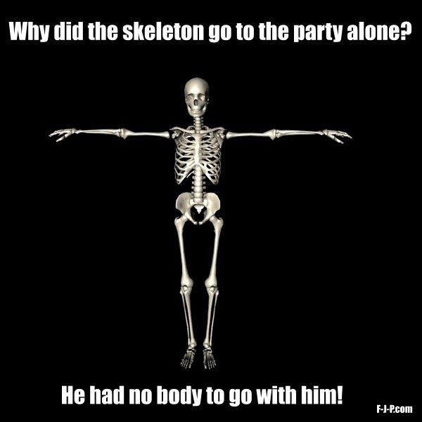 Skeleton Party Alone Pun Lame Jokes Puns Jokes Corny Jokes
