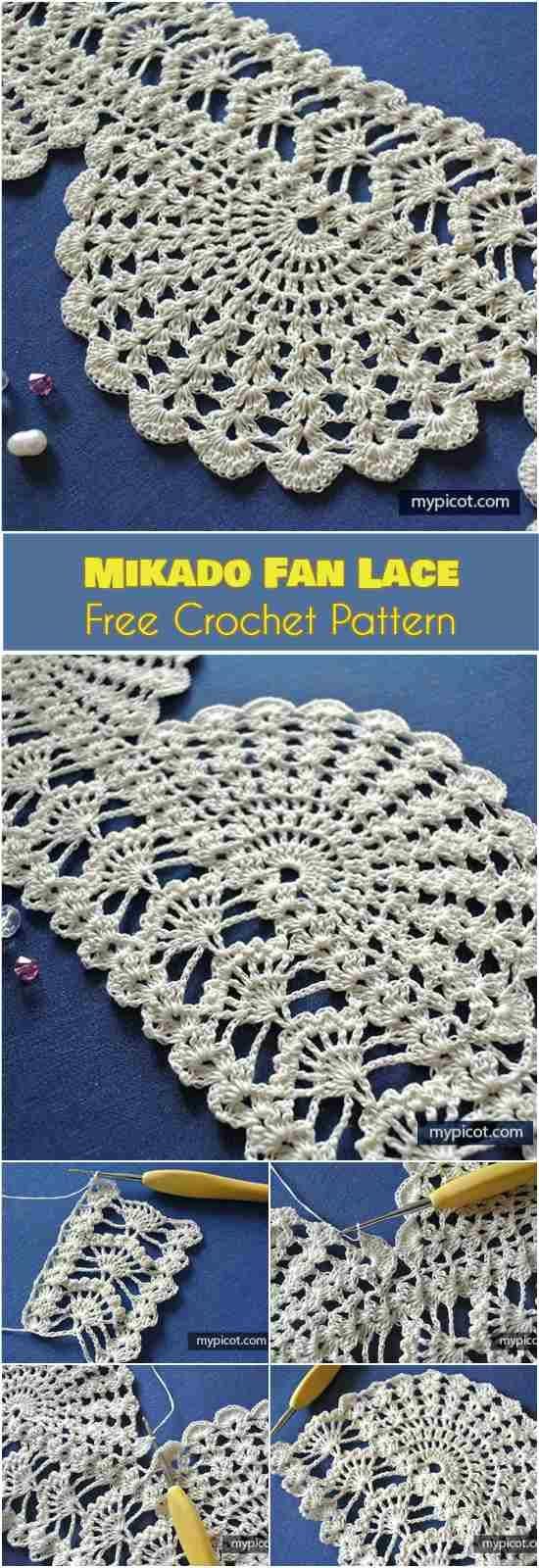 Mikado Fan Lace Free Crochet Pattern | Häkeln, Handarbeiten und ...
