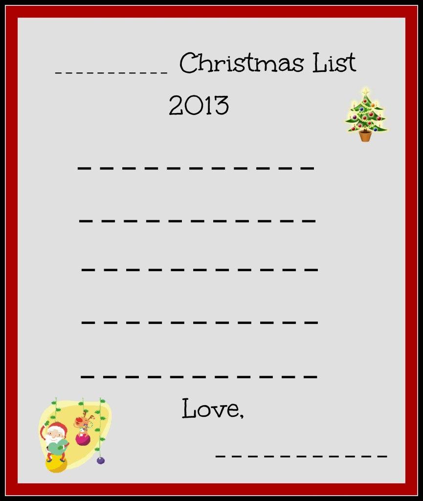 free christmas lists