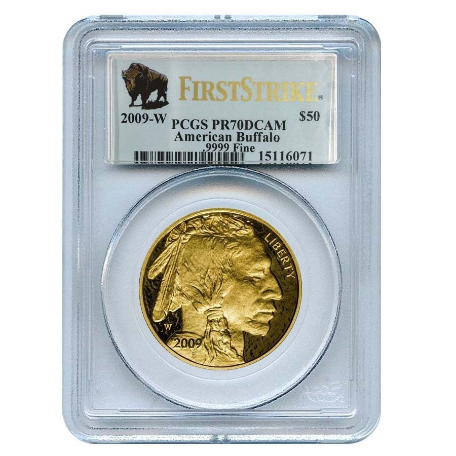 2009 W 1 Oz Proof Gold Buffalo 50 Coin Pcgs Pr 70 Dcam First Strike Gold Bullion Coins Pcgs Gold Coins