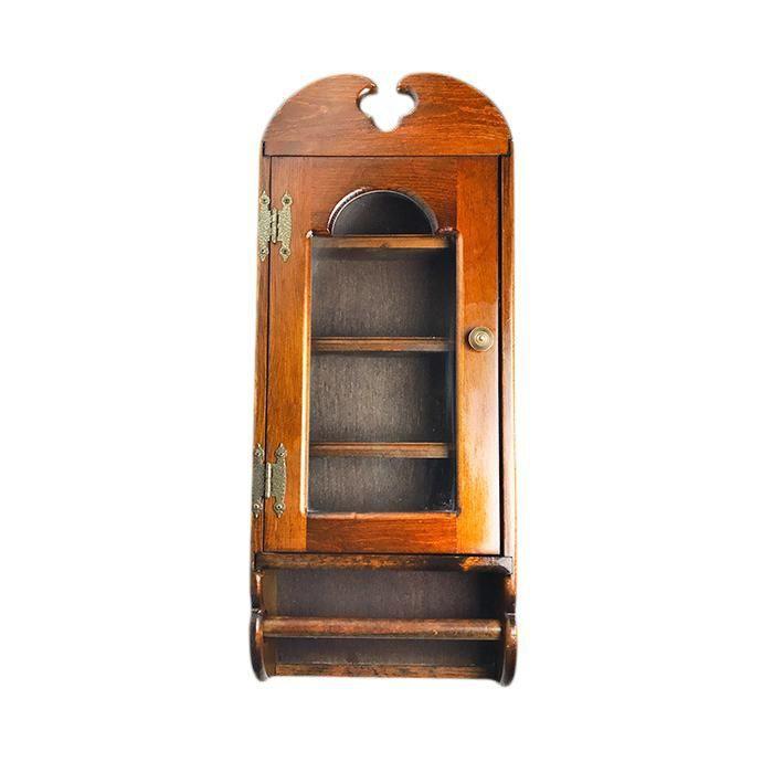 Vintage Mid Century Glass Door Hanging Display Cabinet With Paper