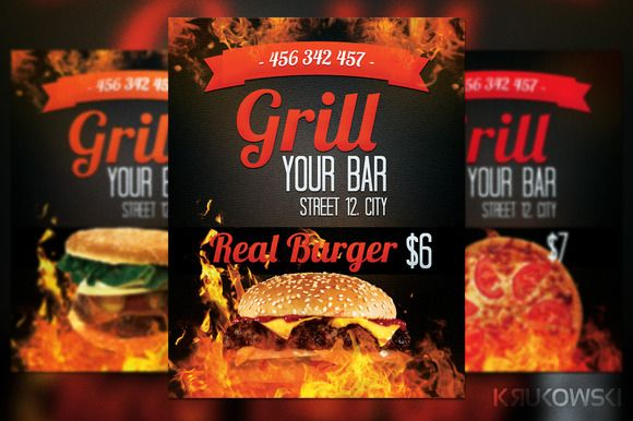 Grill Bar Flyer  Food Design And Flyer Template