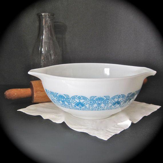 Vintage Kitchen Bowls: Vintage Pyrex Cinderella Bowl Horizon Blue Mixing By