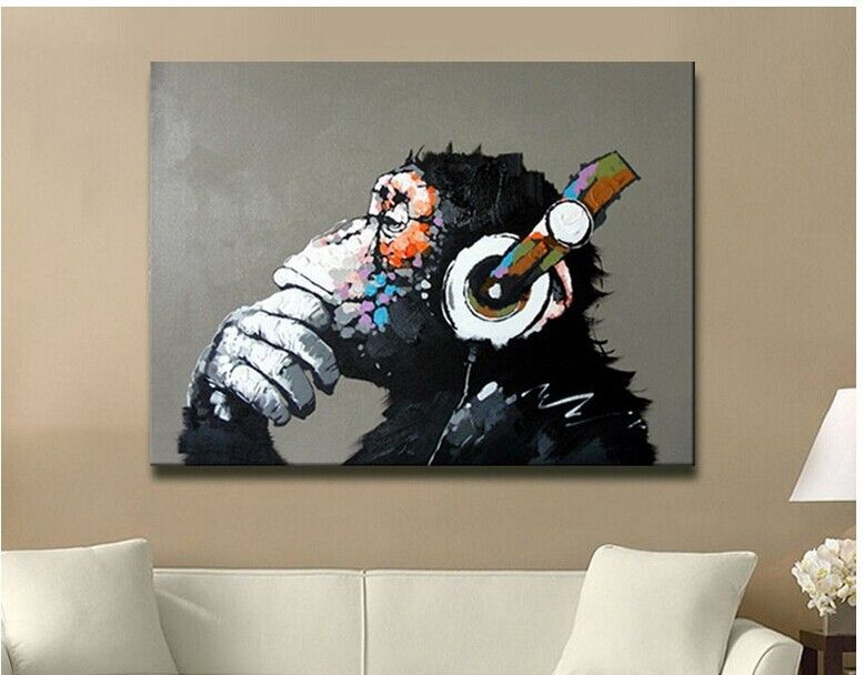 Hand painted wall art gorilla with headphone modern abstract music oil painting
