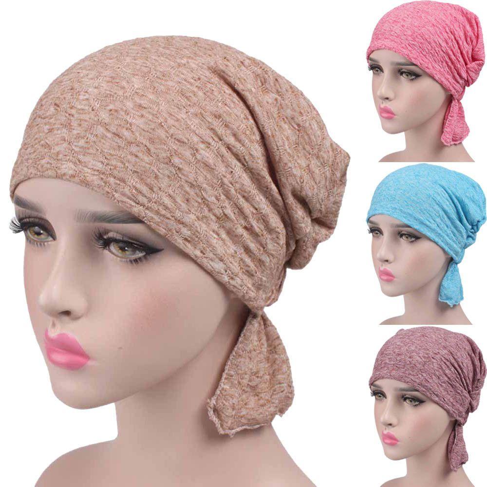 Details zu Damen Chiffon Rüsche Krebs Chemo Beanie-Mütze Schal ...