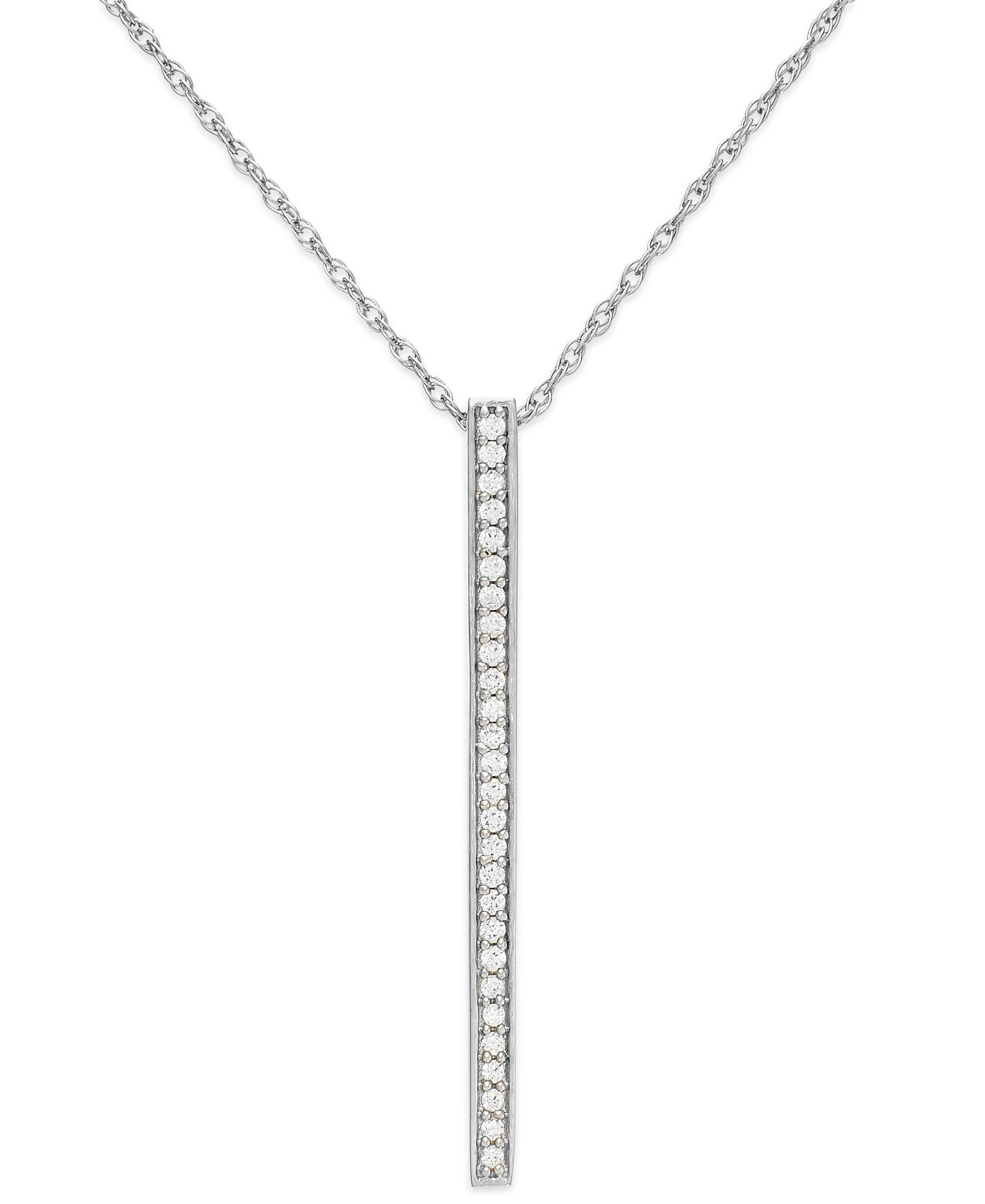 Diamond bar pendant necklace in sterling silver ct tw