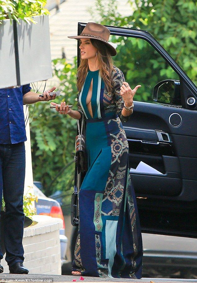 Alessandra Ambrosio flashes extreme cleavage in a revealing maxi dress as she heads to lunch   Daily Mail Online