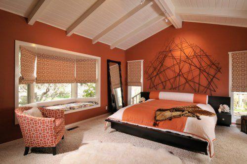 sensationelle-Schlafzimmer-in-Orange-warm-ambiente-einrichtungjpg - schlafzimmer einrichten beige