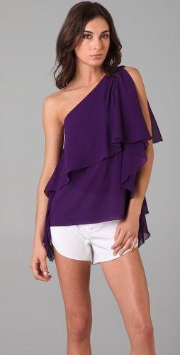 Purple One Shoulder Tops
