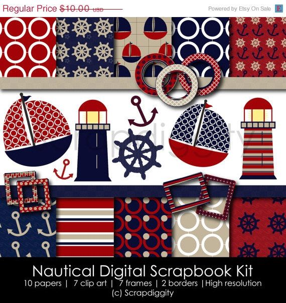 80 Off Nautical Digital Scrapbook Kit By Scrapdiggity On Etsy