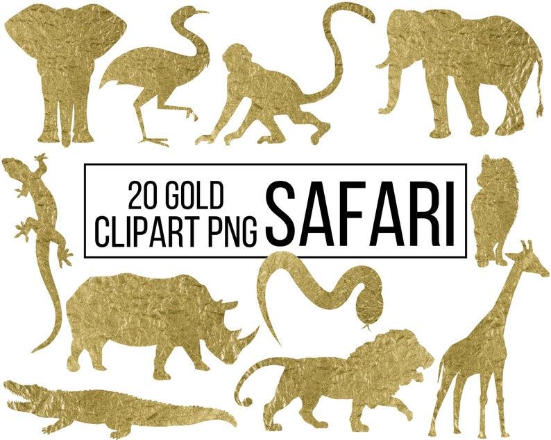 20 Gold Foil Safari Animals Digital Clipart Printable African Animals Lion Monkey Rhino Elephant Clip Art Transparent Png Commercial Use Elephant Clip Art Safari Animals Digital Clip Art